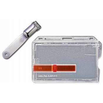 Kartenhalter mit Ausschieber rot mit Vinyl Clip - 25 Stück