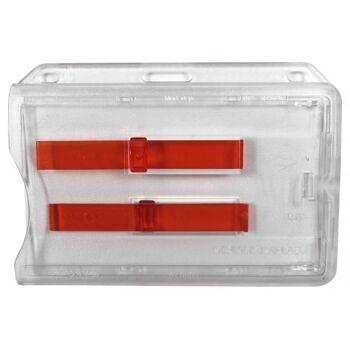 Kartenhalter transparent mit 2 roten Ausschiebern 10 Stück