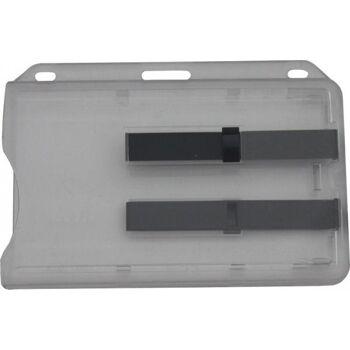 Kartenhalter transparent mit 2 schwarzen Ausschiebern 10 Stück