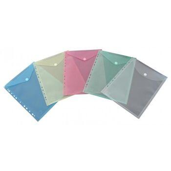 Prospekthüllen mit Klappe und Abheftrand farbig sortiert - 10 Stück
