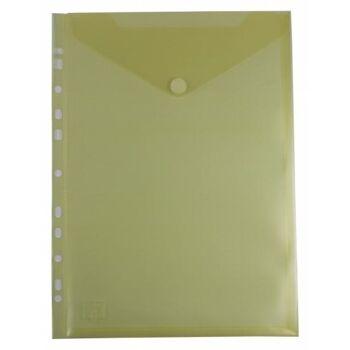 Prospekthüllen mit Klappe und Abheftrand transparent gelb - 10 Stück