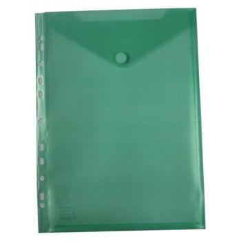 Prospekthüllen mit Klappe und Abheftrand transparent grün - 10 Stück