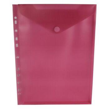 Prospekthüllen mit Klappe und Abheftrand transparent rot - 10 Stück