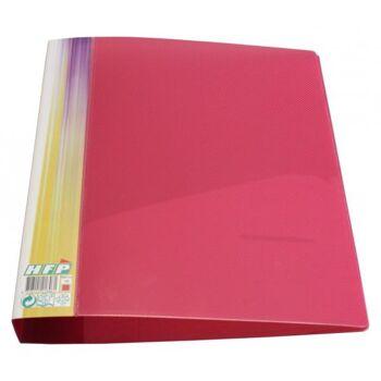 Ringbuch 2 D-Ringe Stegtasche transparent rot mit Struktur