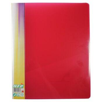 Ringbuch 4 D-Ringe Stegtasche transparent rot mit Struktur