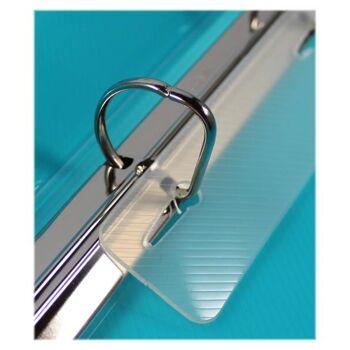 Ringbuch 4 D-Ringe Stegtasche transparent türkis mit Struktur