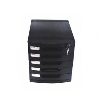 Schubladenbox Ablagebox mit 5 Schubladen abschließbar mit Schloss Farbe: schwarz