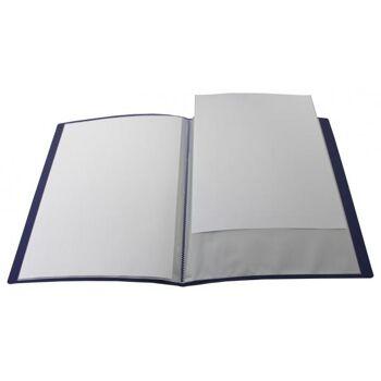 Sichtbuch A4 mit Beschriftungsfenster mit 40 Hüllen transparent blau