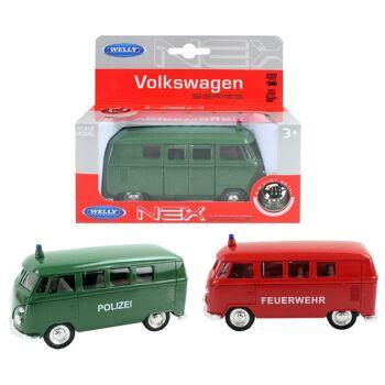 27-47510, WELLY Volkswagen '63 T1 Bus VW Bulli Polizei/Feuerwehr