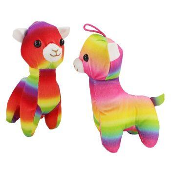 27-23121, Plüsch Alpaka Lama Regenbogenfarben
