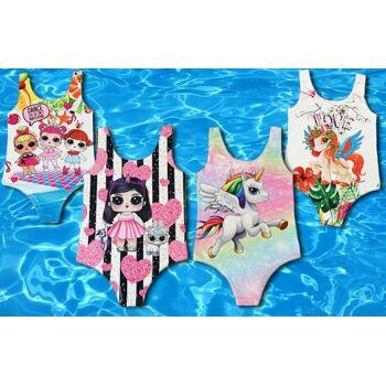 Kinder Mädchen Trend Badeanzug Einhorn Unicorn Sommer Strand Sport 2-12 Jahre Basic Beach Bademode Schwimmanzug Einteiler - 4,90 Euro