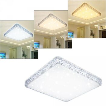 Vingo 60W LED Deckenlampe Eckig Starlight-Effekt Kristall Rahmen