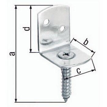 Flechtzaunhalter 83x32x30x38mm Stahl roh feuerZN L-Form GAH, 100 Stück