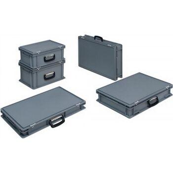 Kunststoffkoffer 10l PPmit 1 Griff L400xB300xH133mm grau stapelbar
