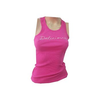 WOMAN TANKTOP DELICIOUS PRINT PINK SUMMER