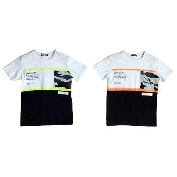 Kinder Jungen Trend T-Shirt Camouflage Neon Farben 4-14 Print Shirt Shirts Kurzarm Kindershirts Oberteil - 5,90 Euro