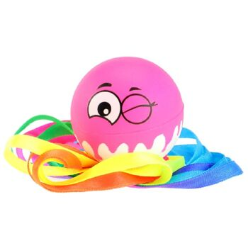 28-358599, Wurfball Emoji, mit 45 cm bunten langen Bändern, Outdoor, Strand, Garten, Camping, Hunde, Tiere, usw
