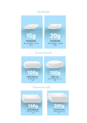 Haushaltsseifen, Hotelseifen, Toilettenseife, Household soaps, hotel soaps, toilet soap 15g,160g,200g