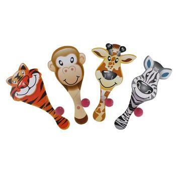27-95039, Paddel Ballspiel Tiere mit Holzschläger und Ball