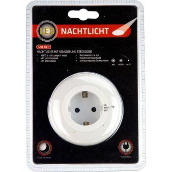 28-103377, LED Nachtlicht rund, mit Lichtsensor und Steckdose, LED Licht, 3 verschiedene Schaltmodi,