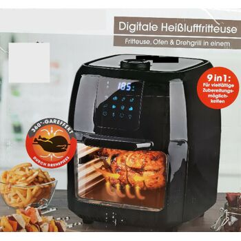 9 in 1 Digitale Heißluftfritteuse 1800 W Drehgrill schwarz 9L Gourmetmaxx