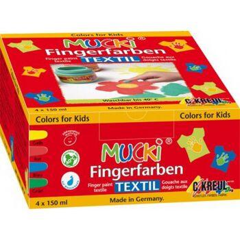 MUCKI Fingerfarbe Textil 4er Set, 1 Stück