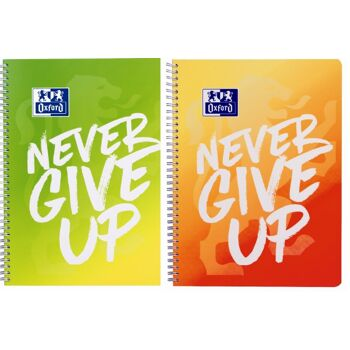 12-15053, Oxford Limited Edition Never give up A4+ Collegeblock, kariert mit Rand rechts/links, 80 Blatt, Optik Paper®