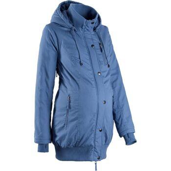 Damen Jacke Umstandsjacke mit Kapuze und Rippbündchen Parka blau