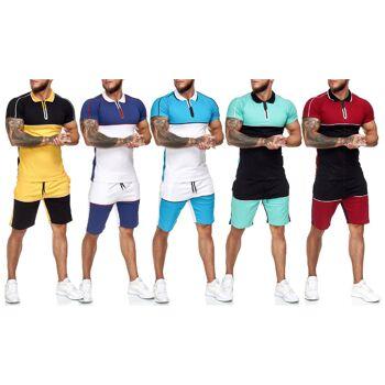 Herren Trend Short Jogging Anzug Sports Sportanzug Trainingsanzug T-Shirt Kurze Hose Jogginganzug Hausanzug - 11,90 Euro