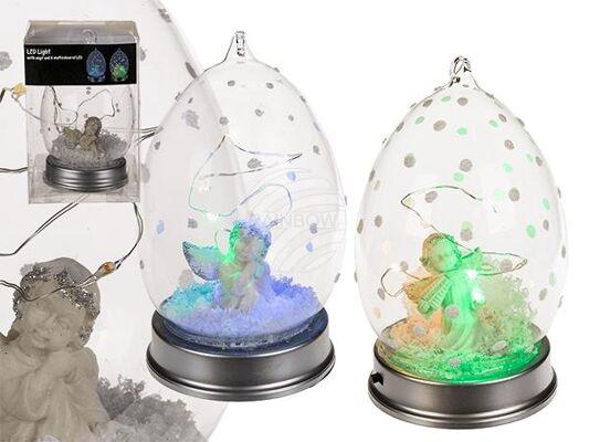 Glas-Kugel mit Engel & 6 bunten LED, mit Band