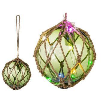 Grüne Deko-Glaskugel im Netz, zum Aufhängen, LED