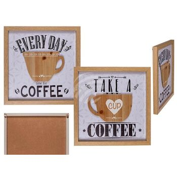 Holz-Schild, Coffee, Tasse 3D-Optik