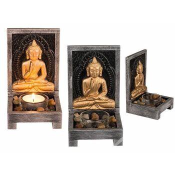 Holz-Teelichhalter, Buddha mit Dekosteinen