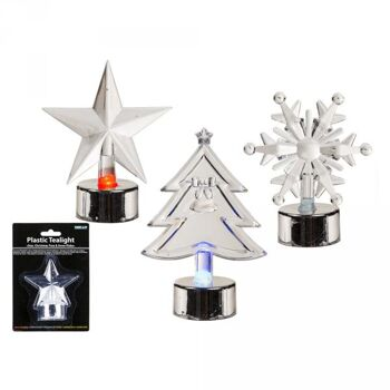 Kunststoff-Teelicht, Weihnachtsfiguren, mit LED