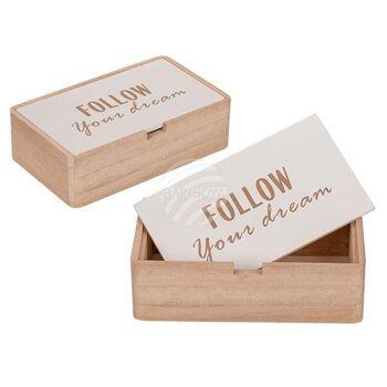 Naturfarbene Holz-Box mit weißem Deckel, Follow