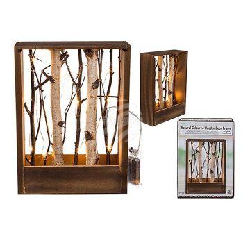 Naturfarbener Holzrahmen mit Ästen & 10 LED