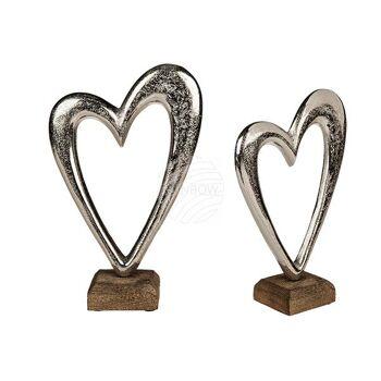 Silberfarbenes Metall-Herz auf Holz-Standfuß