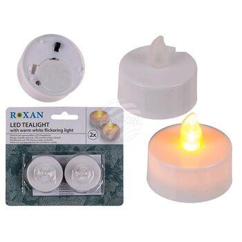 Teelicht mit warmweißen LED-Flackerlicht