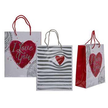 Weiße Papier-Geschenktüte, Herz & I love you