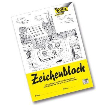 12-281040, Zeichenblock A4 10 Bl. Mit Einsteckecken 120g/m² Leinenecken 100g