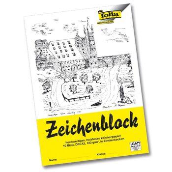 12-8103, Zeichenblock A3 10 Bl. Mit Einsteckecken 120g/m² Leinenecken 100g