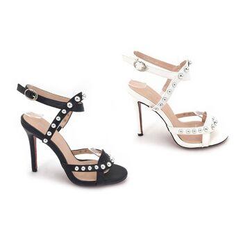 Damen Woman Sommer Trend Sandalette Sandale Knöchelriemchen High Heels Schuh Shoes Sommer Business Freizeit - 13,90 Euro