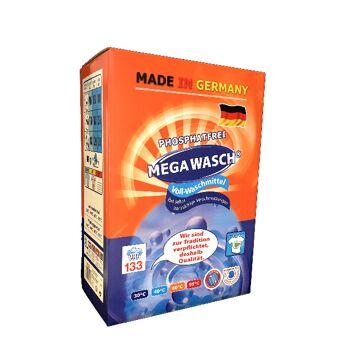 Mega Wasch Vollwaschmittel Waschpulver 10 kg Karton - Standard Qualität - MADE IN GERMANY -