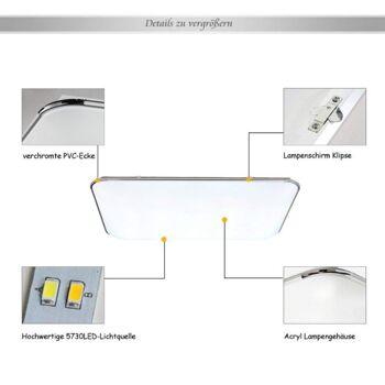 HG® 64W LED Deckenleuchte IP44 Badezimmer geeignet Leuchte Flur Dimmbar Fernbedienung Innenlampe [Energieklasse A++]