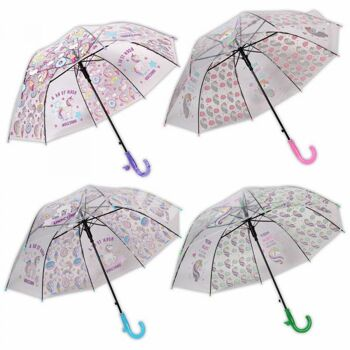 Kinder Regenschirm weiß semitransparent Donuts