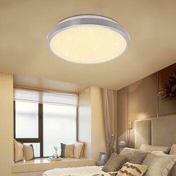 VINGO® 12W LED Deckenleuchte Farbwechsel Kaltweiß Warmweiß Neutralweiß 3 in 1 Starlight Effekt Vernickelung rund Deckenbeleuchtung