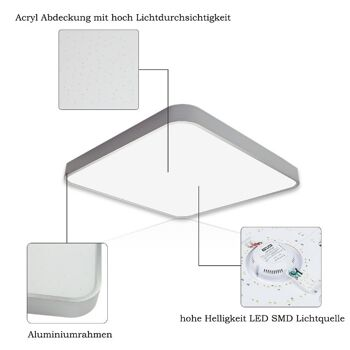 VINGO 50W LED Deckenleuchte kaltWeiß Sternenhimmel Wohnzimmerlampe Deckenbeleuchtung Panel Lüster Ultraslim energiesparend