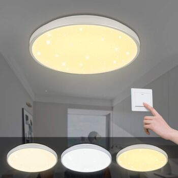 VINGO® 60W LED Deckenleuchte Farbwechsel Sternenhimmel Deckenbeleuchtung Panel Lüster Sternenhimmel energiesparend [Energieklasse A++]