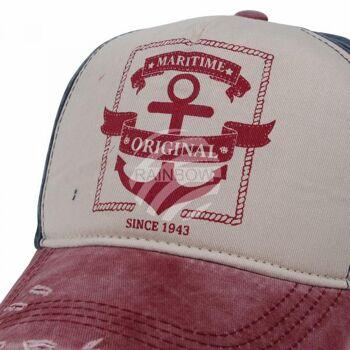 Vintage Retro Distressed Trucker Cap rot weiss