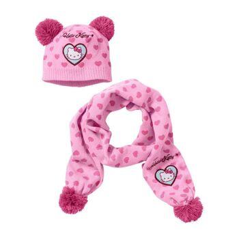 Kinder Hello Kitty Schal Mütze Set Mädchen Restposten Kindermode